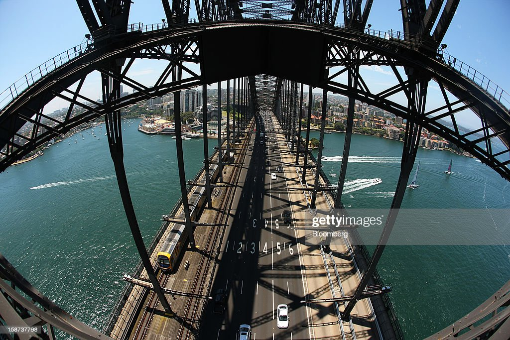 Traffic moves across the Sydney Harbour Bridge in this photograph taken with a fish-eye lens from the arch of the bridge in Sydney, Australia, on Monday, Dec. 24, 2012. Beginning next month, people wanting to ascend 134 meters above sea level to the top of the bridge spanning Sydney Harbour will have the option to hear guides speak Mandarin. Photographer: Brendon Thorne/Bloomberg via Getty Images