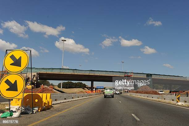 Traffic moves along a freeway on July 29 2009 in Gauteng South Africa Motorists have had to become used to highway construction zones as many South...