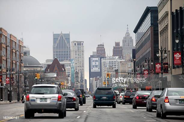 Traffic moves along a street February 24 2013 in Detroit Michigan The city of Detroit has faced serious economic challenges in the past decade with a...