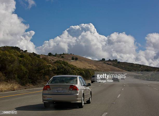 Traffic moves along Interstate 280 on October 24 in Palo Alto California Some 136 million international travelers visit the State each year...