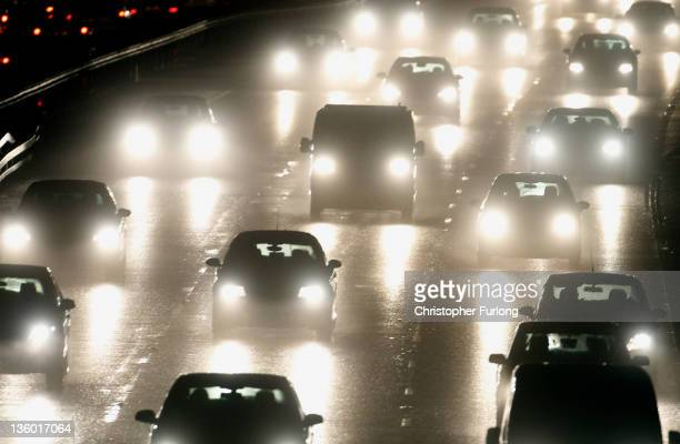 Traffic moves along on the M6 motorway near Knutsford Cheshire as commuters head for home on December 16 2011 in Knutsford England Many people across...