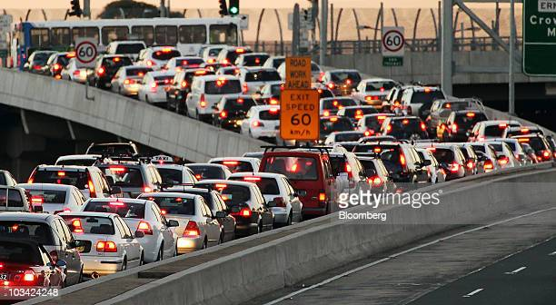 Traffic moves along the Warringah Freeway during rush hour in Sydney Australia on Monday Aug 16 2010 Sydney's transportation woes have come to...