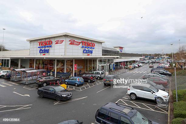 Traffic moves around the car park at the Tesco Basildon Pitsea Extra supermarket operated by Tesco Plc in Basildon UK on Tuesday Dec 1 2015 Many...