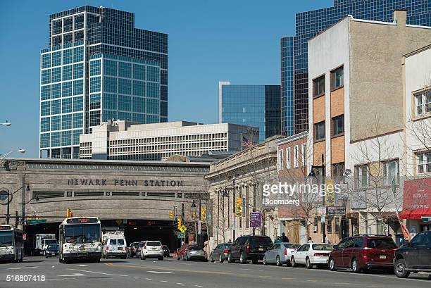 Traffic moves past Newark Penn Station in downtown Newark New Jersey on Wednesday March 9 2016 New Jersey's credit rating has tumbled to the...
