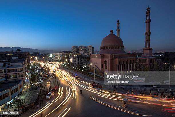 Traffic moves past the Abdul Rahman Khan Great Mosque on November 18 2012 in Kabul Afghanistan