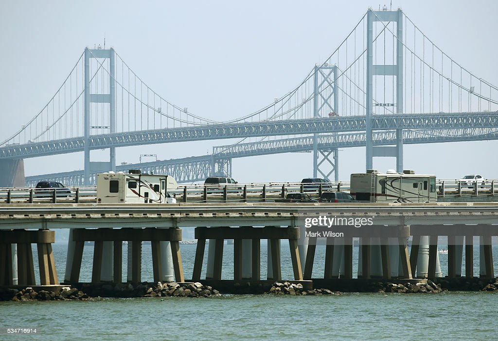Traffic moves slowly across the Chesapeake Bay Bridge, May 27, 2016 in Annapolis, Maryland. Area traffic is expected to be heavy through the Memorial Day weekend.