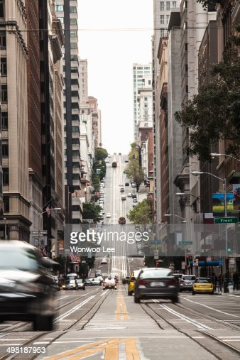 Traffic moving on city street, San Francisco, California, USA