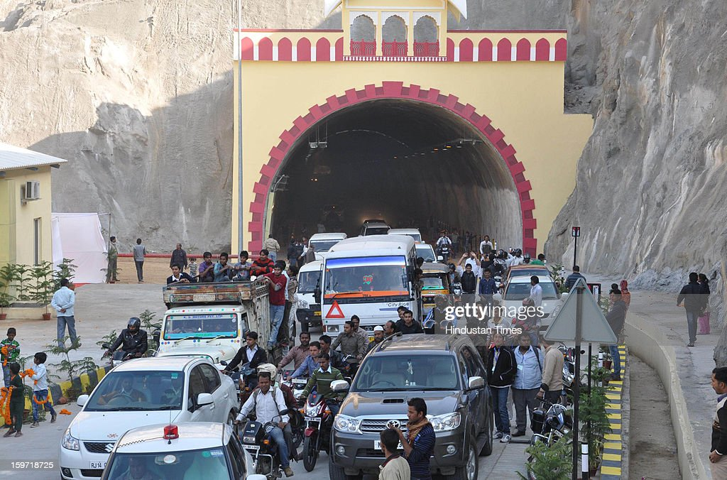 Traffic moving through the Ghat ki Guni Tunnel which was dedicated by PM Manmohan Singh and UPA Chairperson and Congress President Sonia Gandhi in presence of Rajasthan CM Ashok Gehlot on January 19, 2013 in Jaipur, India. With a combined length of 2,800 metres, the twin-tube tunnel, bored through Jhalana hills at a cost of Rs 150 crore, would help ease traffic congestion on the existing connector and systematize vehicular flow at the Eastern Gateway of the city.