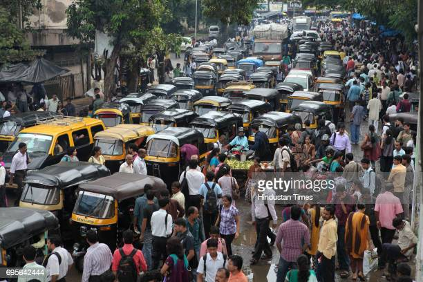 Traffic of autorickshaws at Andheri station noo BEST bus on road Over 42000 employees of the Brihanmumbai Electric Supply and Transport undertaking...