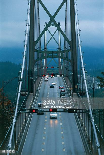 Traffic on a bridge Lions Gate Bridge Vancouver British Columbia Canada