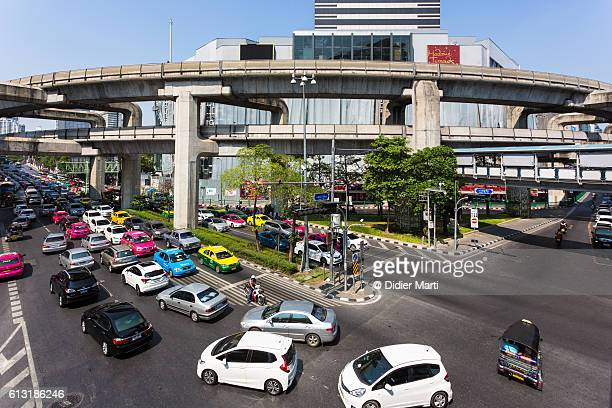 Traffic on a busy intersection in Bangkok