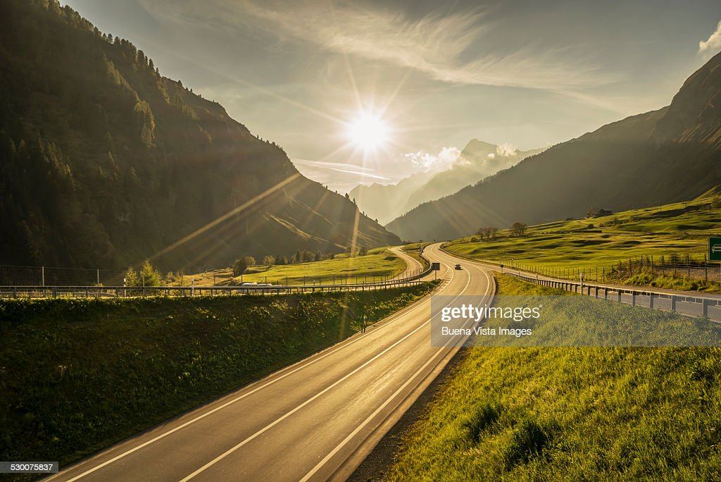 Traffic on a mountain road : Stock Photo