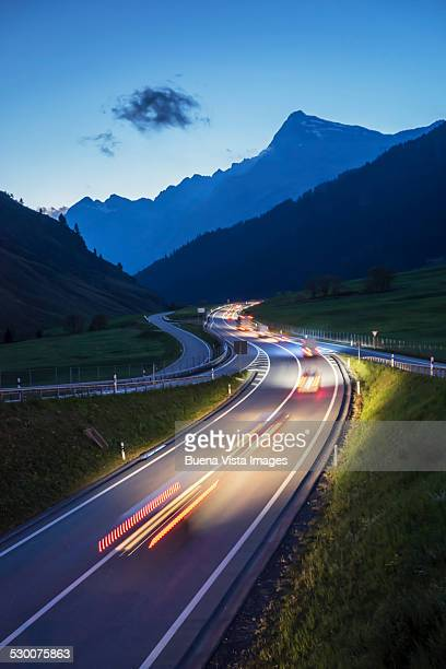 Traffic on a mountain road