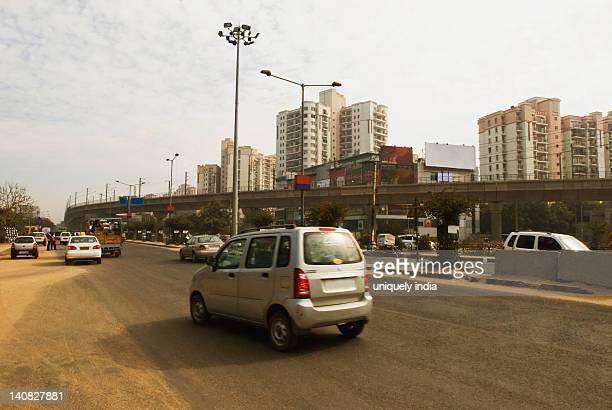 Traffic on a road, Gurgaon, Haryana, India