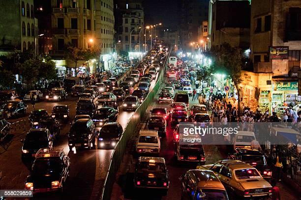 Traffic On AlAzhar Street At Night Cairo Al Qahirah Egypt