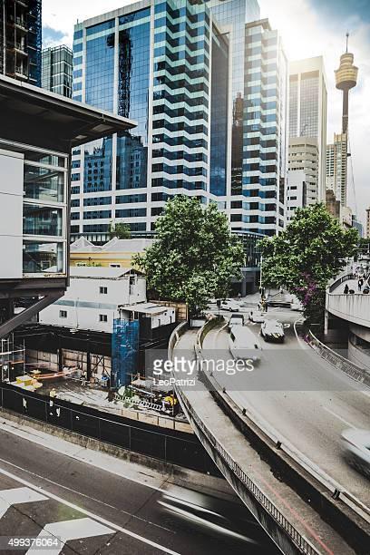 Traffic on an elevated road in Sydney CBD