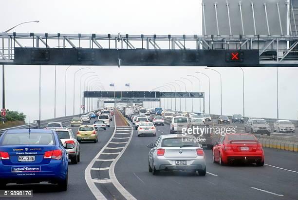 Traffic on Auckland Harbour Bridge, New Zealand