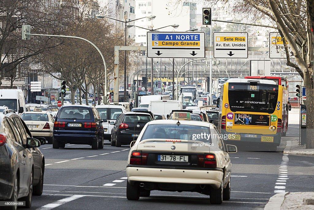 Traffic on Avenida da Republica : Stock Photo