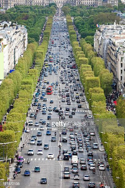Traffic on Avenue des Champs Eysees, Paris, France