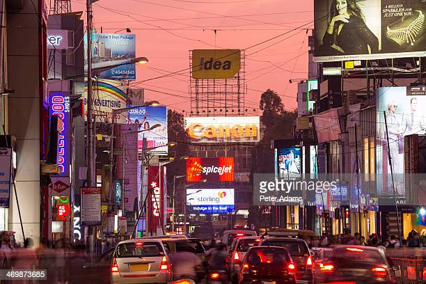 Traffic on Brigade Road at Dusk, Bangalore