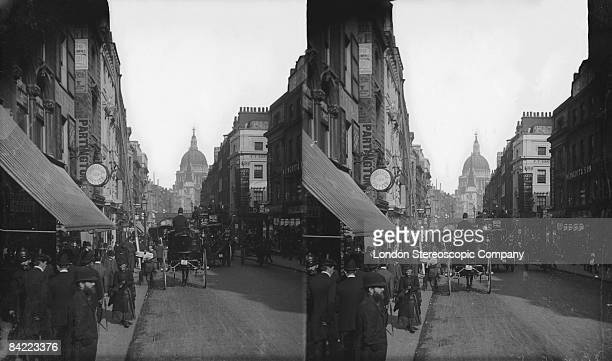 Traffic on Fleet Street in London with St Paul's Cathedral in the background circa 1900