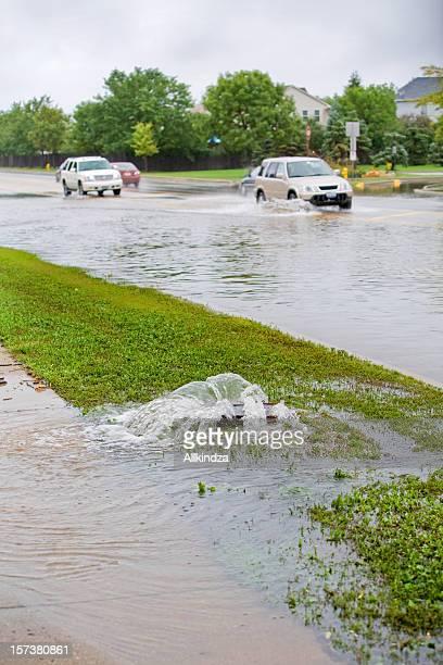 traffic on flooded street