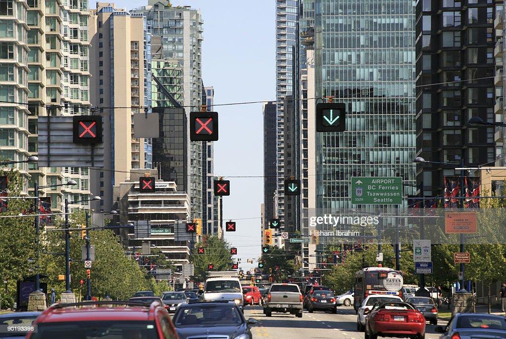 Traffic on Georgia Street - Vancouver, BC, Canada : Stock Photo