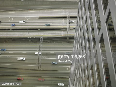 Traffic on highway, elevated view : Stock-Foto
