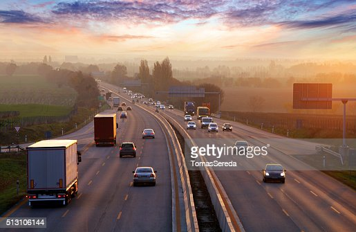 Traffic on highway with cars. : Stock Photo