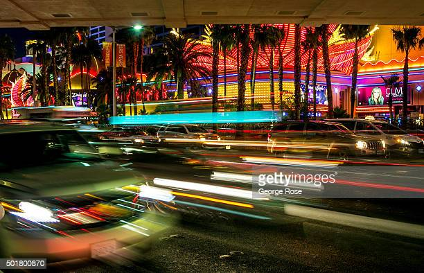 Traffic on Las Vegas Blvd is viewed after dark on December 4 2015 in Las Vegas Nevada Tourism in America's 'Sin City' has within the past two years...