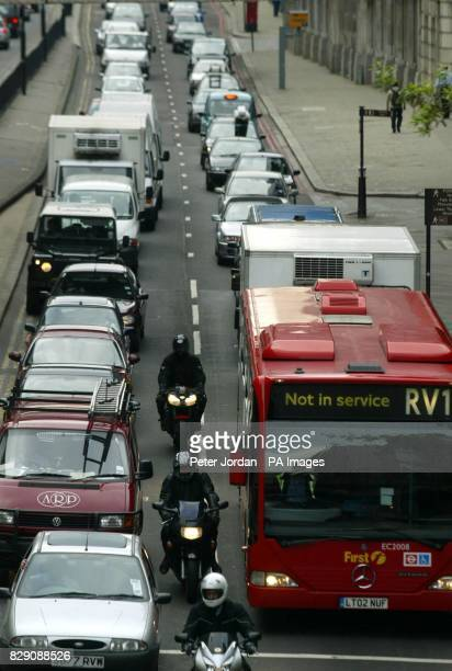 Traffic on Lower Thames Street as a 24 hour strike by thousands of workers on London Underground brought travel chaos to the capital Many Tube lines...