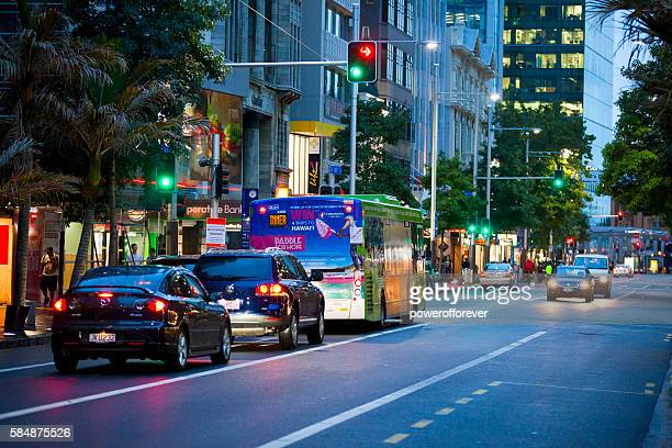 Traffic on Queen street in downtown Auckland, New Zealand