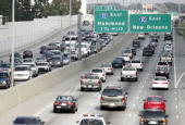 Traffic on the Baton Rouge section of Interstate 10 is packed with cars moving in both directions after taking on residents from the New Orleans area...