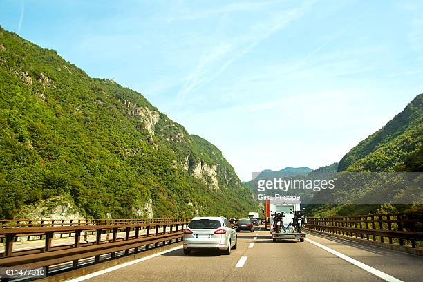 Traffic on the Brenner highway, South Tyrol, Italy.