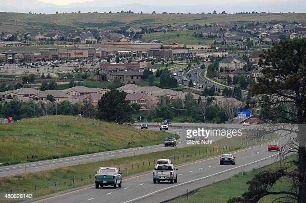Traffic on the E470 toll road at the intersection with Smoky Hill Road in Aurora Colorado