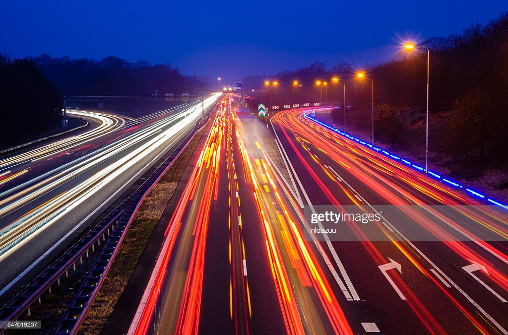 Traffic on the highway at night, Holland