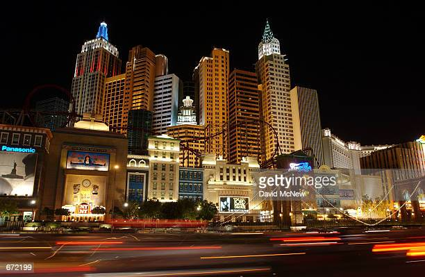 Traffic on the Las Vegas Strip streaks past the repica of the New York's skyline that forms the New York New York hotel November 16 in Las Vegas NV...