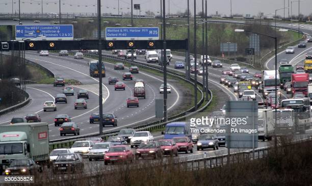 Traffic on the M25 M4 junction near Heathrow during the morning rush hour as commuters take to their cars London Underground services were crippled...