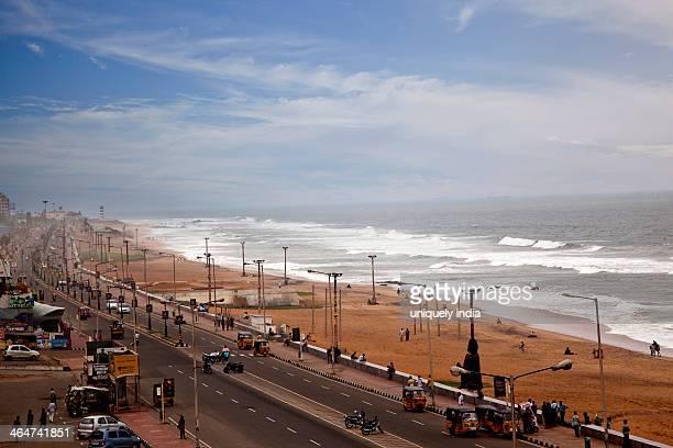 Traffic on the road along the beach, Visakhapatnam, Andhra Pradesh, India