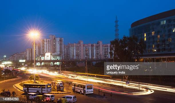 Traffic on the road at night, IFFCO Chowk, Gurgaon, Haryana