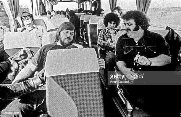 Traffic on tour bus with Muscle Shoals rhythm section The Swampers in Europe 1973 LR Barry Beckett and sound engineer Jimmy Johnson