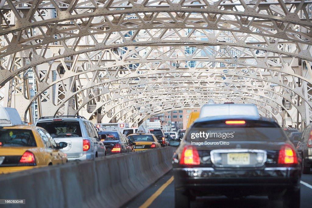 Traffic on urban bridge : Stock Photo