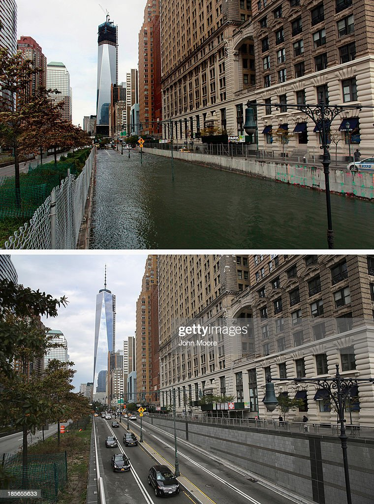 Hugh L. Carey Tunnel sits flooded after a tidal surge caused by Hurricane Sandy, on October 30, 2012 in New York City. (Photo by Allison Joyce/Getty Images) NEW YORK, NY - OCTOBER 22: (bottom) Traffic passes from Manhattan into the Hugh L. Carey Tunnel on October 22, 2013 in New York City. Hurricane Sandy made landfall on October 29, 2012 near Brigantine, New Jersey and affected 24 states from Florida to Maine and cost the country an estimated $65 billion.