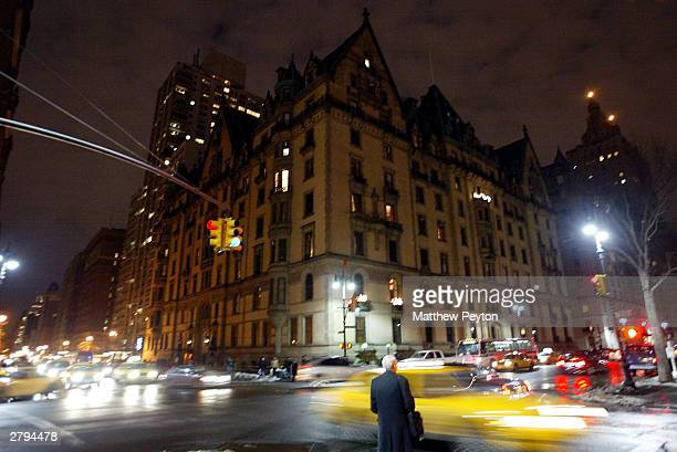 Traffic passes the Dakota apartment building on the 23rd anniversary of musician John Lennon's death December 8 2003 in New York City