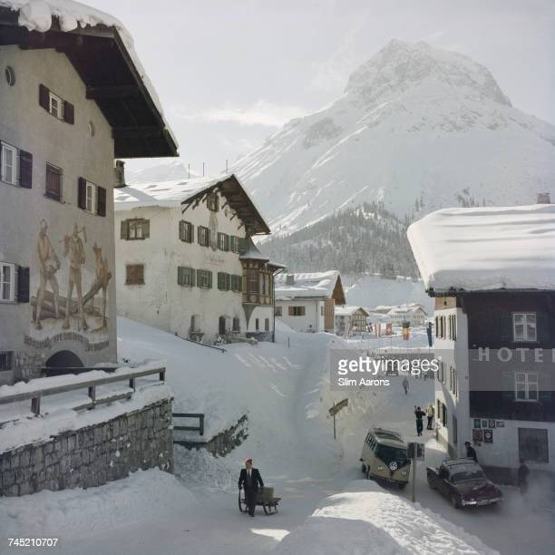 Traffic passing by the Hotel Krone in Lech Austria 1960