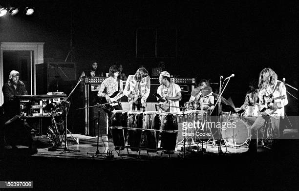 Traffic perform on stage with the Muscle Shoals rhythm section at Birmingham Town Hall on Wednesday March 20 1973 LR Barry Beckett David Hood Chris...