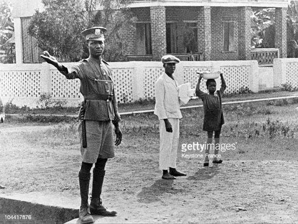 A traffic policeman in a street of Monrovia in the 19201930's