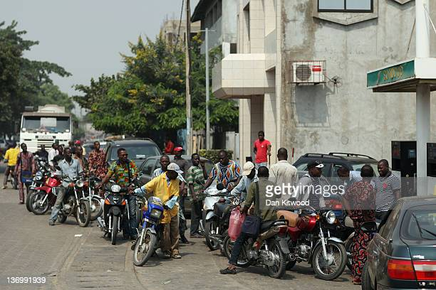 Traffic queues for fuel on January 13 2012 in Cotonou Benin A removal of subsidy on fuel by the neighbouring Nigerian Government has been reflected...