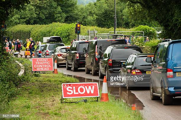 Traffic queues on the A361 as festival goers struggle to reach the Glastonbury Festival at Worthy Farm Pilton on June 22 2016 in Glastonbury England...