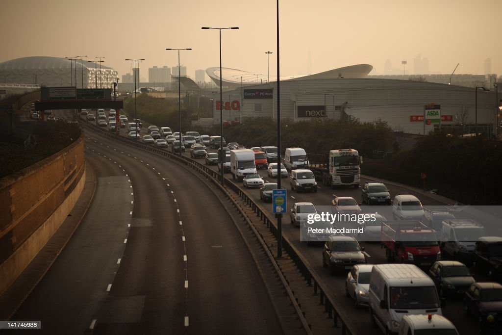 Traffic queues up as it passes near the Olympic Park at Leyton on March 22, 2012 in London, England. The London 2012 Olympics will commence on July 27, 2012.